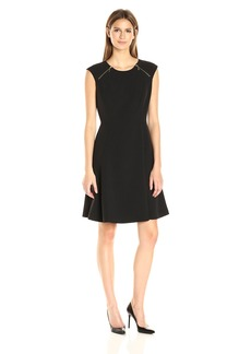 Nine West Women's Crepe Fit and Flare Dress with Zippers Btwn Shoulder and Chest