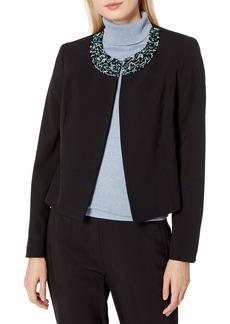 NINE WEST Women's Crepe Jacket with Embellishmenton Neckline