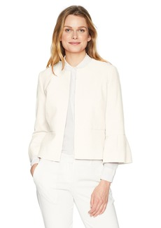 Nine West Women's Crepe Jacket with Ruffle Sleeve