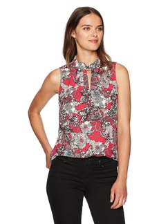Nine West Women's Crepe Keyhole Blouse with Intricate Design  M