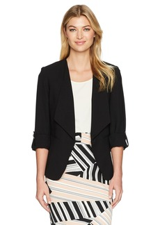 Nine West Women's Crepe Wide Lapel Jacket with Button Sleeve Detailing