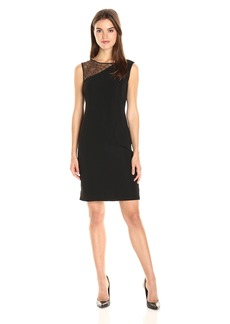 Nine West Women's Crew Neck Sheath Dress with Yoke Insert