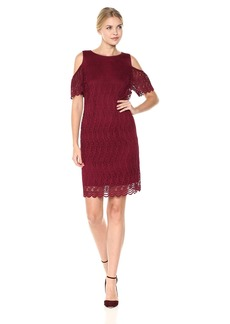 Nine West Women's Crinkle Scallop Lace Dress with Ruffled Cold Shoulder