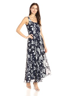 Nine West Women's Delicate Vine Multi Tier Dress Dark Pacifc/IVY