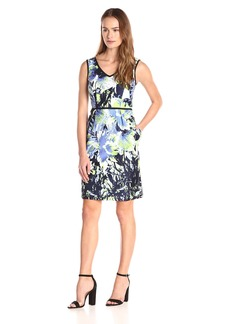 Nine West Women's Denim Blooms Printed Sleeveless V-Neck A-Line Dress