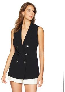 Nine West Women's Double Breasted Peak Lapel Stretch Crepe Vest