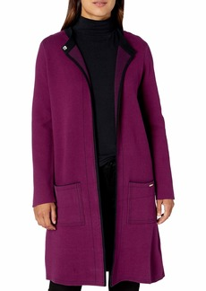 NINE WEST Women's Double FACE Sweater Coat with Patch Pockets  M