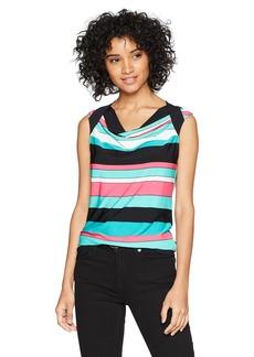 Nine West Women's Drape Neck Stripe Print ITY TOP  XL