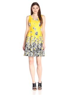 Nine West Women's Drop Floral Boarder Sleeveless Box Pleat Cotton Dress