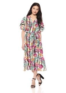 Nine West Women's Drop Shoulder Double Ruffle Sleeve MIDI Length Shirt Dress