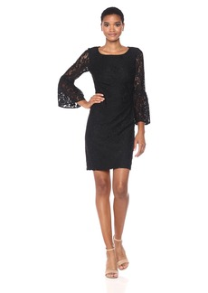 Nine West Women's Elegant Lace 3/4 Bell Sleeve Shirt Dress