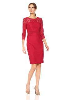 Nine West Women's Elegant Lace 3/4 Sleeve Fitted Dress with Waist Detail fire red