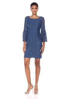 Nine West Women's Elegant Lace 3/7 Sleeve Bell T-Shirt Dress