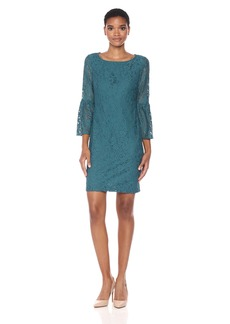 Nine West Women's Elegant Lace 3/7 Sleeve Bell T-Shirt Dress
