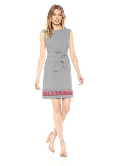 Nine West Women's Embroidered Cotton Dress with Front Tie