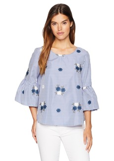 Nine West Women's Embroidered Flounce Sleeve Blouse with Tie Back  S