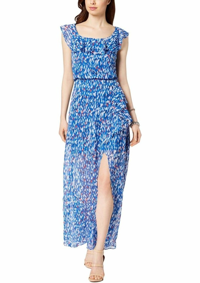 Nine West Women's Faux wrap Maxi Dress with Ruffle Detail at Neck