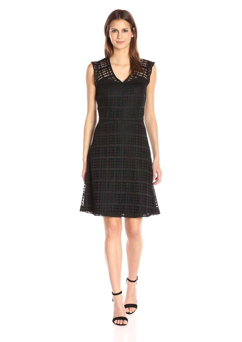 Nine West Women's Fit & Flare Dotted Lace Dress with Front/Back Yoke