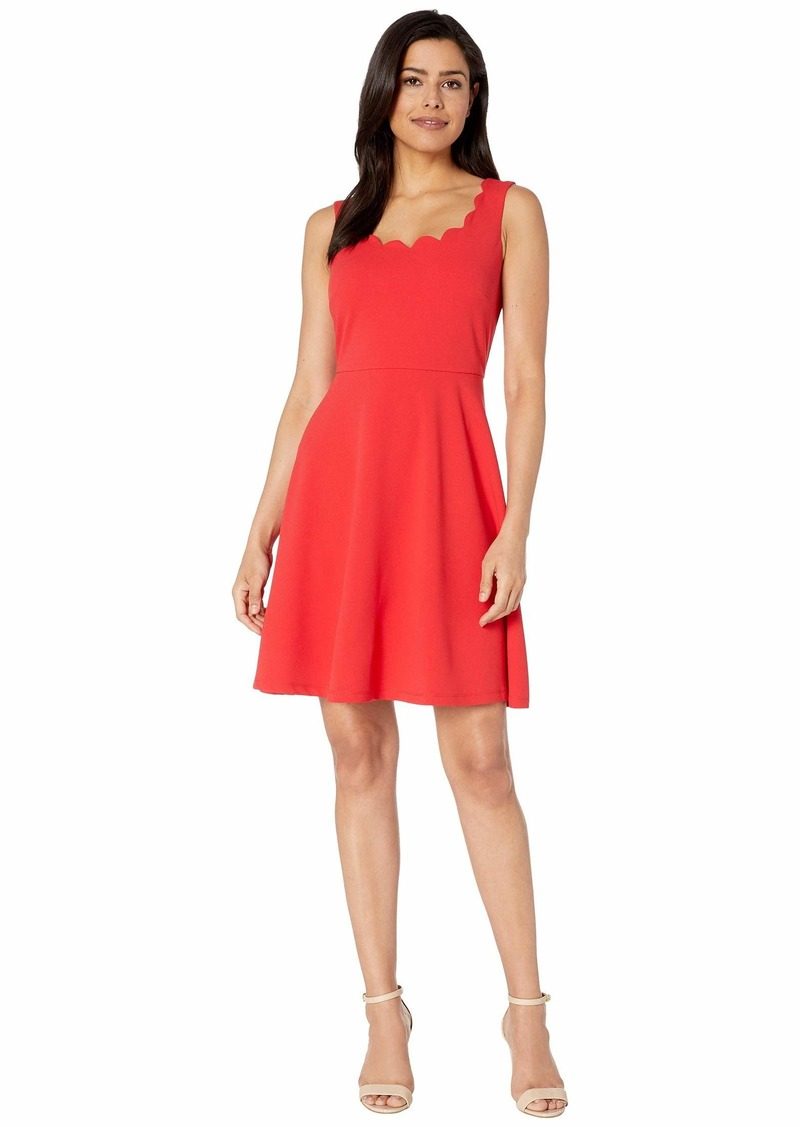 Nine West Women's Fit & Flare Dress with Scalloped Neckline
