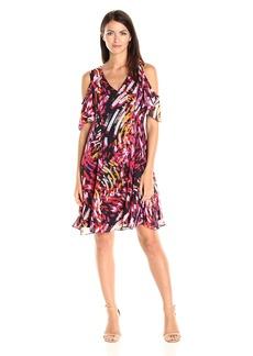 Nine West Women's Fit and Flare Cold Shoulder Dress