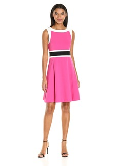 Nine West Women's Fit and Flare Dress W/Contrast Framing