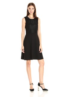 Nine West Women's Fit and Flare Dress with Middle Insert Lace Overlay