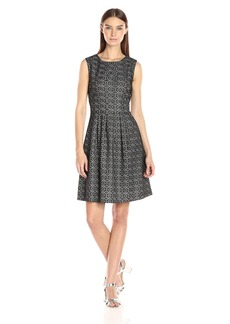 Nine West Women's Fit and Flare Dress with Pleats