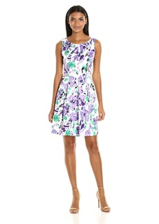 Nine West Women's Fit and Flare Dress with Pleats AT Bottom