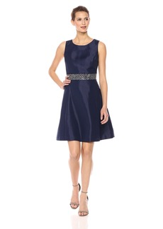 Nine West Women's Fit and Flare Dress With Trim At W.b