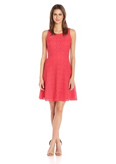 Nine West Women's Fit and Flare Medallion Lace Dress with Yoke