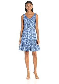 Nine West Women's Fit and Flare Scroll Lace V Neck Dress