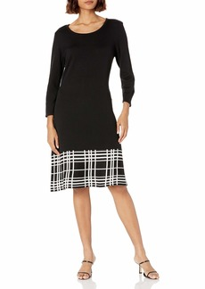 NINE WEST Women's Fit and Flare Sweater Dress with Plaid Border  XL