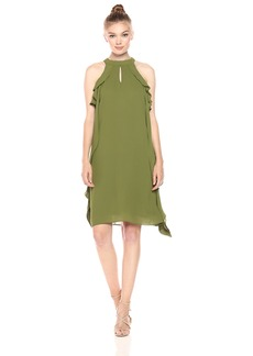 Nine West Women's Flared Dress with Cascading Top Layer