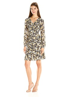 Nine West Women's Flared Dress with Long Shirred Sleeve