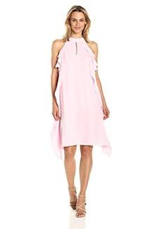 NINE WEST Women's Flared Georgette Dress W/Cascading Top Layer & Cf Opening