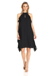 Nine West Women's Flared Georgette Dress W/Cascading Top Layer and Cf Opening