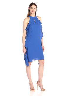 Nine West Women's Flared Georgette Dress with Cascading Top Layer and Cf Opening