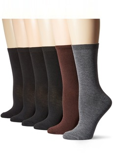Nine West Women's Flat Knit Basic Crew Socks 6-Pack