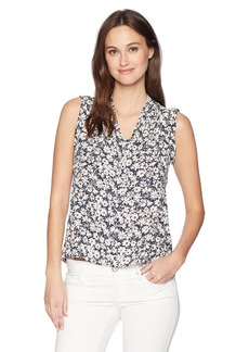 Nine West Women's Floral Printed V Neck Blouse  L