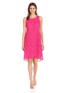 Nine West Women's Floral Shift Dress with Hi-Lo Hem