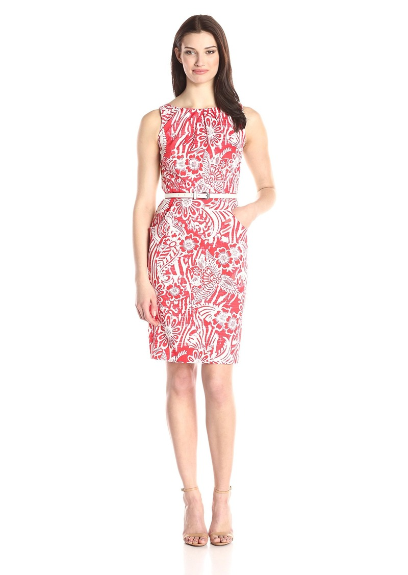 Nine West Women's Printed Pleat Neck Shift Dress with Hip Pockets