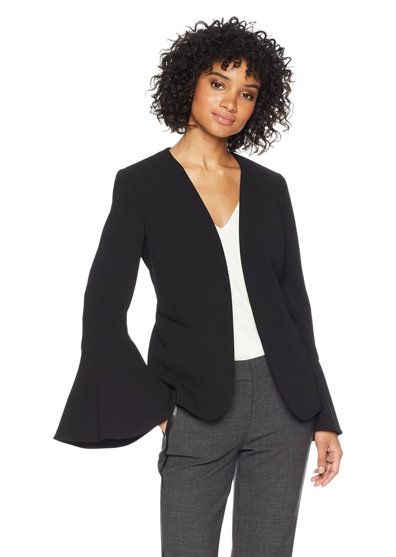 Nine West Women's Flounce Sleeve Crepe Fly Away Jacket