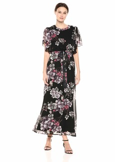 Nine West Women's Flutter Sleeve Maxi Dress