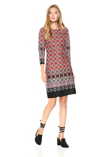 Nine West Women's Geo Border 3/ Sleeve Scuba Dress
