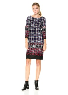 Nine West Women's Geo Border 3/4 Sleeve Scuba Dress