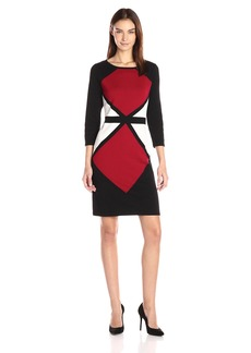Nine West Women's Geo Color Block Sheath Sweater Dress  M