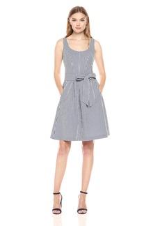 Nine West Women's Gingham Topstitch Dress with Pleats