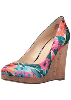 Nine West Women's Halenia Satin Wedge Pump
