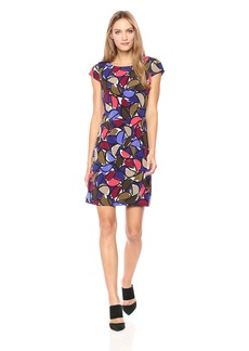 Nine West Women's Half Moon Cap Sleeve Jersey Dress