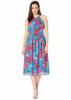 Nine West Women's Halter Neck Pleated Bodice Midi Dress